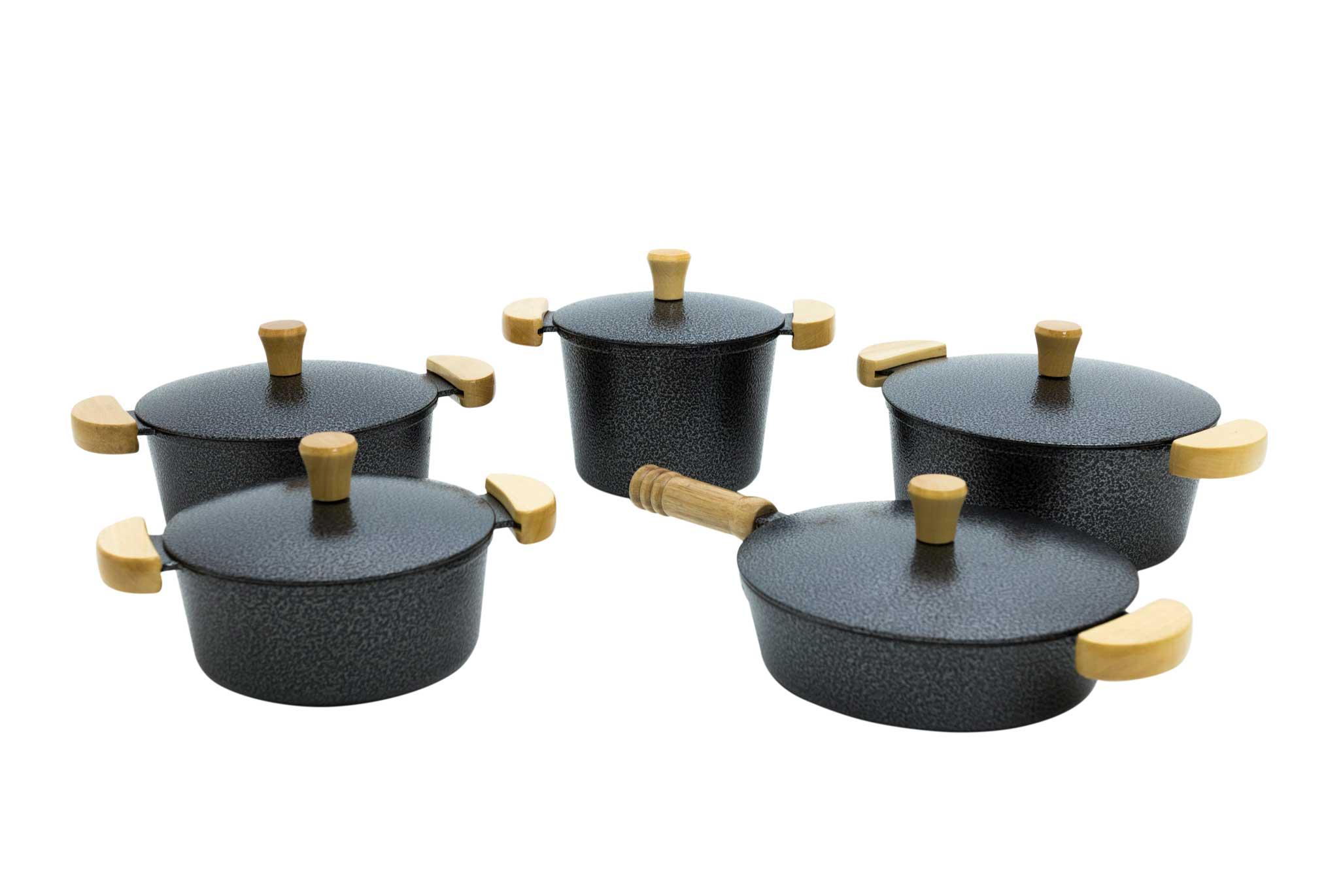 Jogo de Panelas em Alumínio Batido com Frigideira e Caldeirão - Preto Craquelado