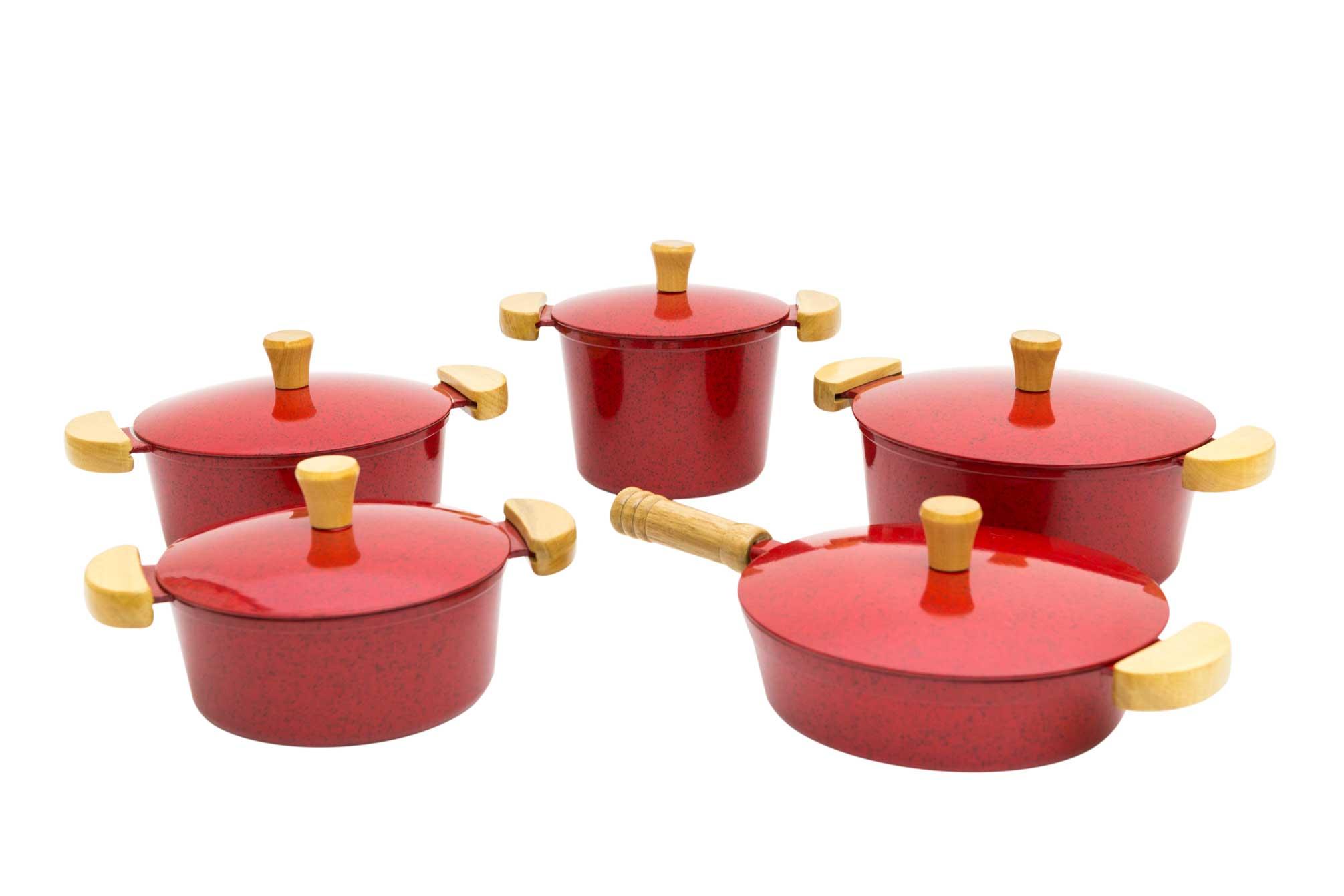 Jogo de Panelas em Alumínio Batido com Frigideira e Caldeirão - Vermelho Mesclado