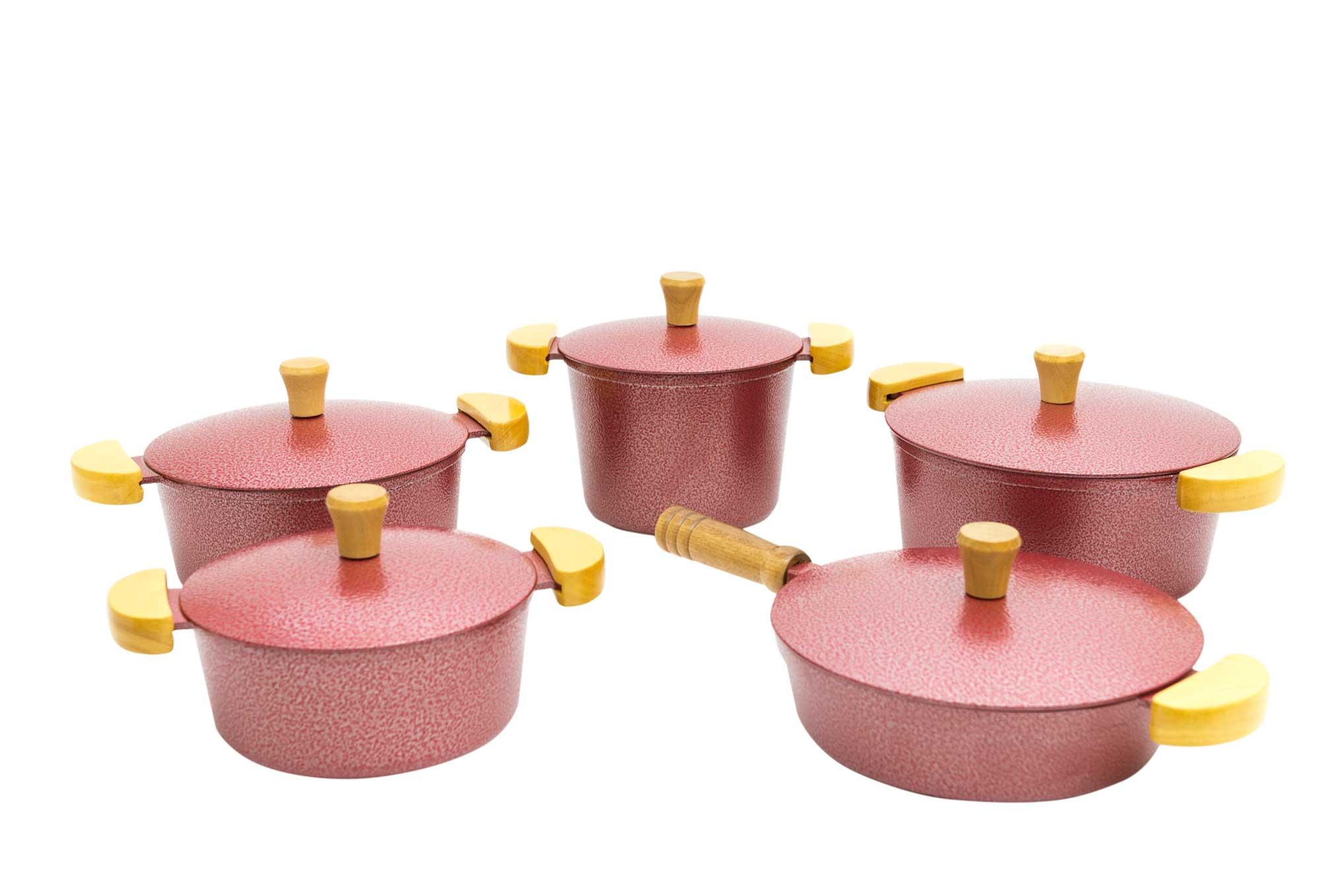 Jogo de Panelas em Alumínio Batido com Frigideira e Caldeirão - Vermelho Craquelado