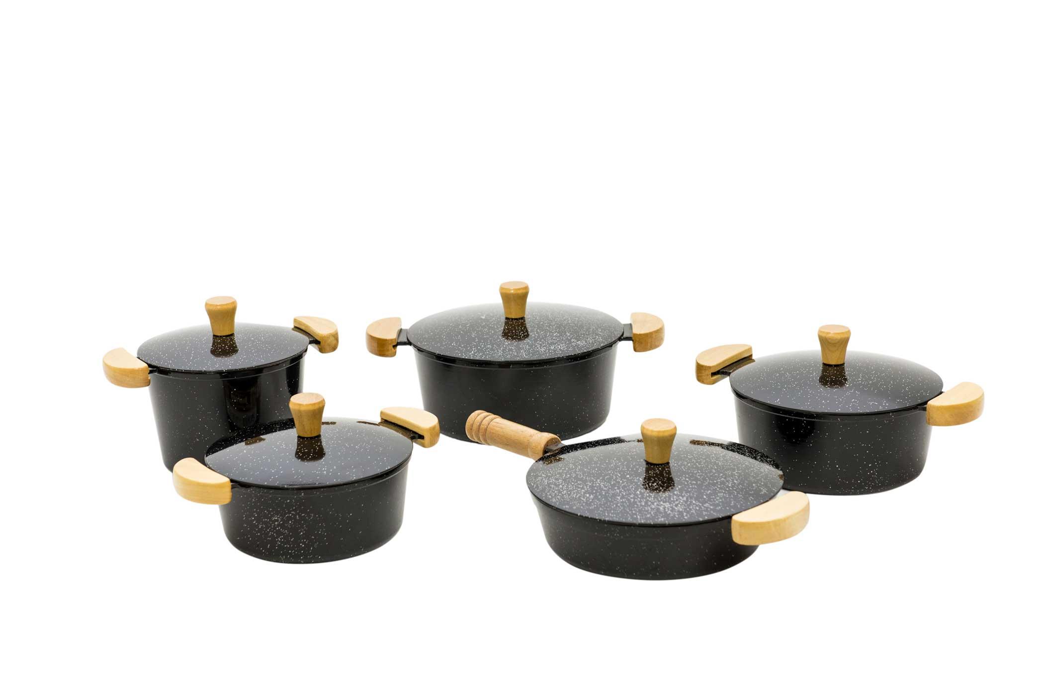 Jogo de Panelas em Alumínio Batido com Frigideira e Caldeirão - Preto Mesclado