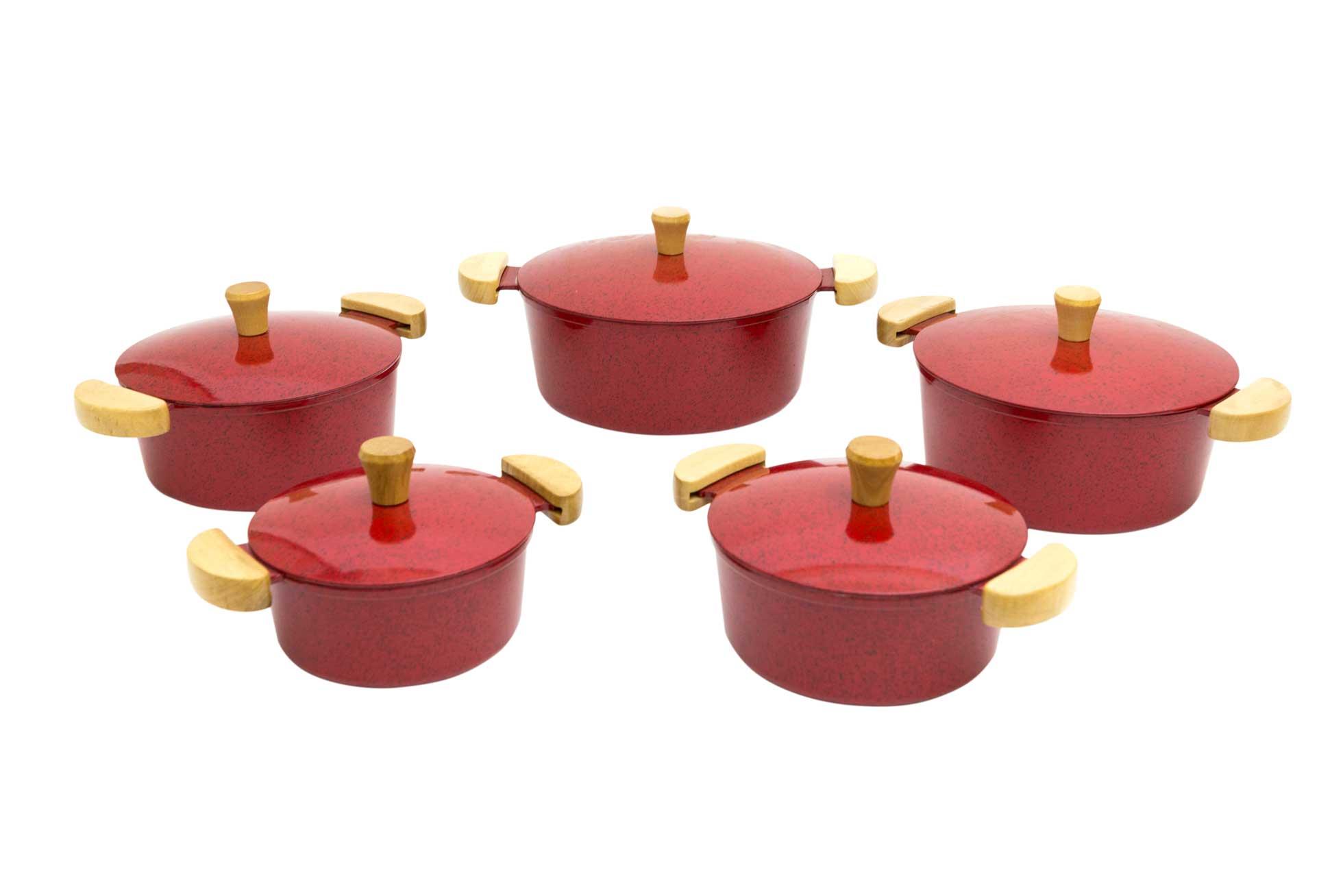 Jogo de Panelas em Alumínio Batido - Vermelho Mesclado