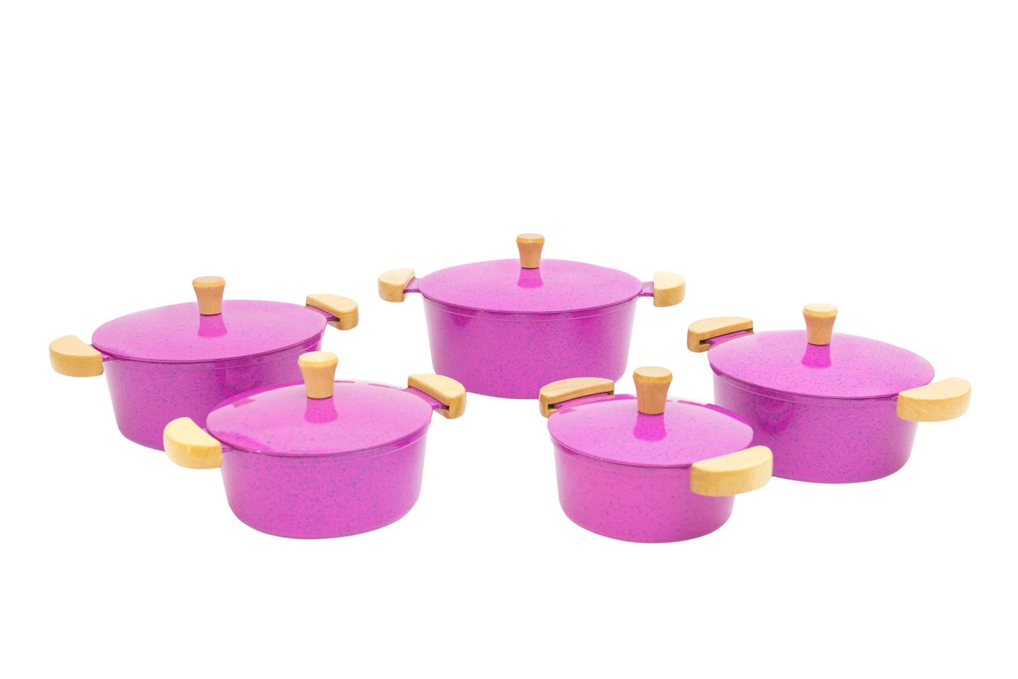 Jogo de Panelas em Alumínio Batido - Pink Mesclado