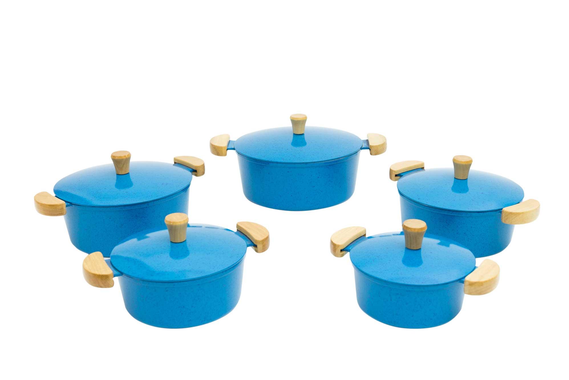 Jogo de Panelas em Alumínio Batido - Azul Mesclado